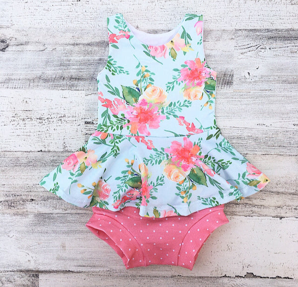 Watercolor Floral Peplum Set