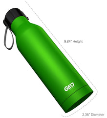 17 oz. Powder-Coated Bright Green Stainless Steel Bottle with Carrying Handle
