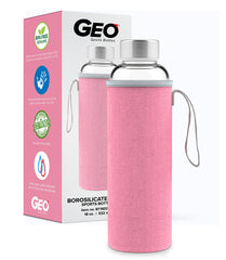 18 oz. Glass Water Bottle with Pink Protective Sleeve and Carrying Handle