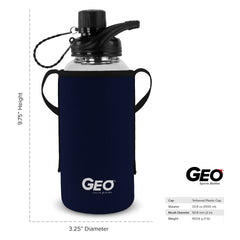 1 Liter Glass Sports Bottle w/ 65mm Plastic Cap & Protective Sleeve