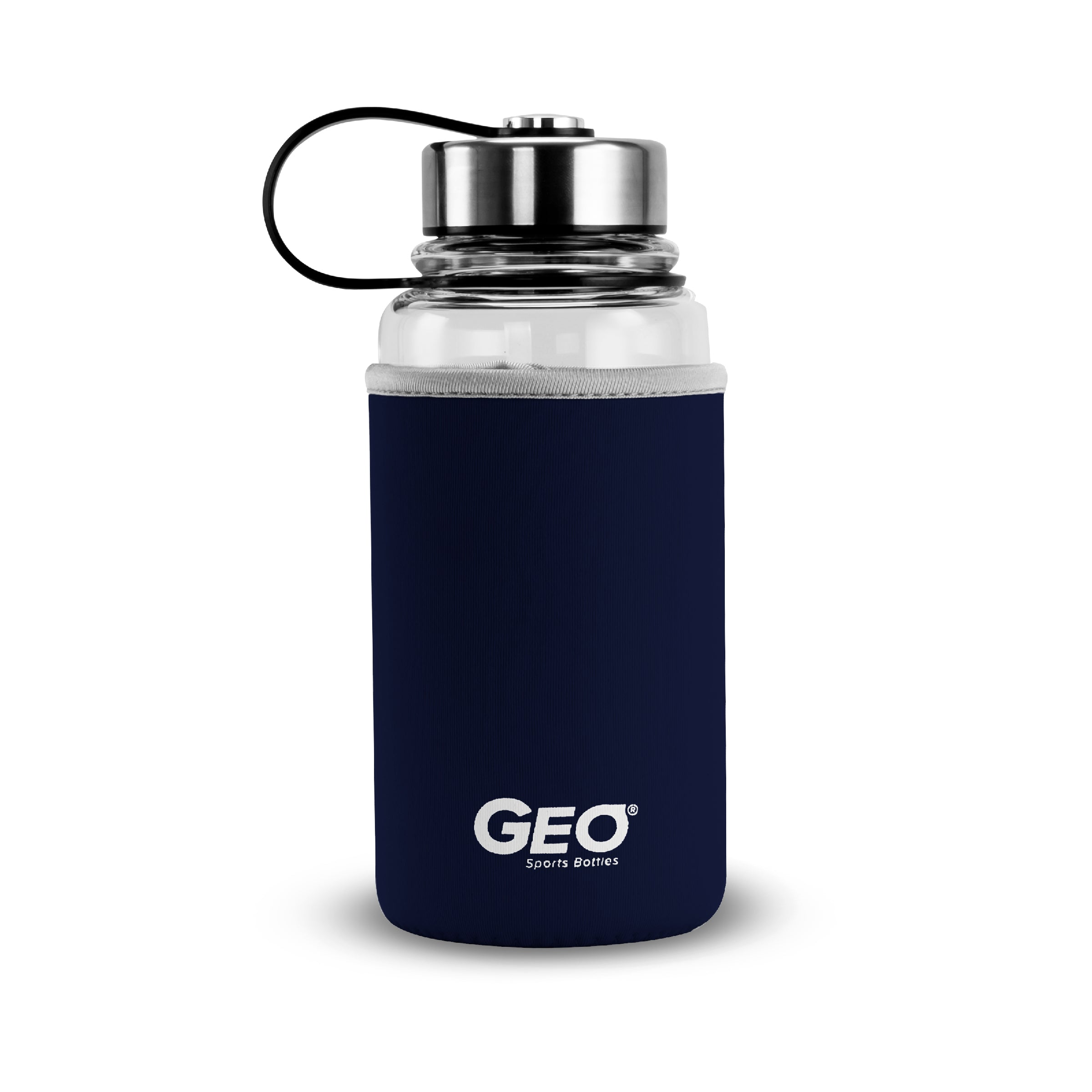 1 Liter Glass Sports Bottle w/ 65mm Steel Cap & Protective Sleeve