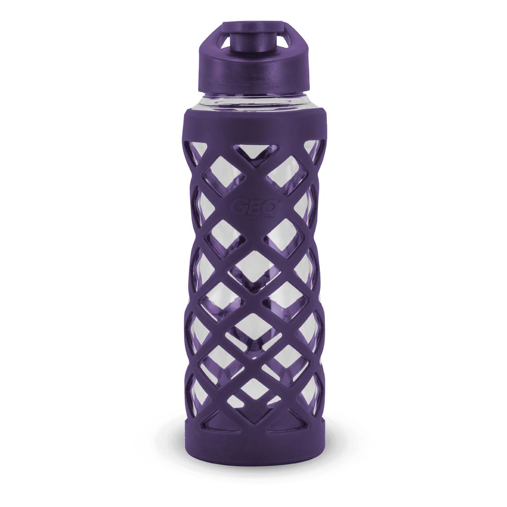 Geo 24oz. Glass Bottle with Rubber Diamond Design