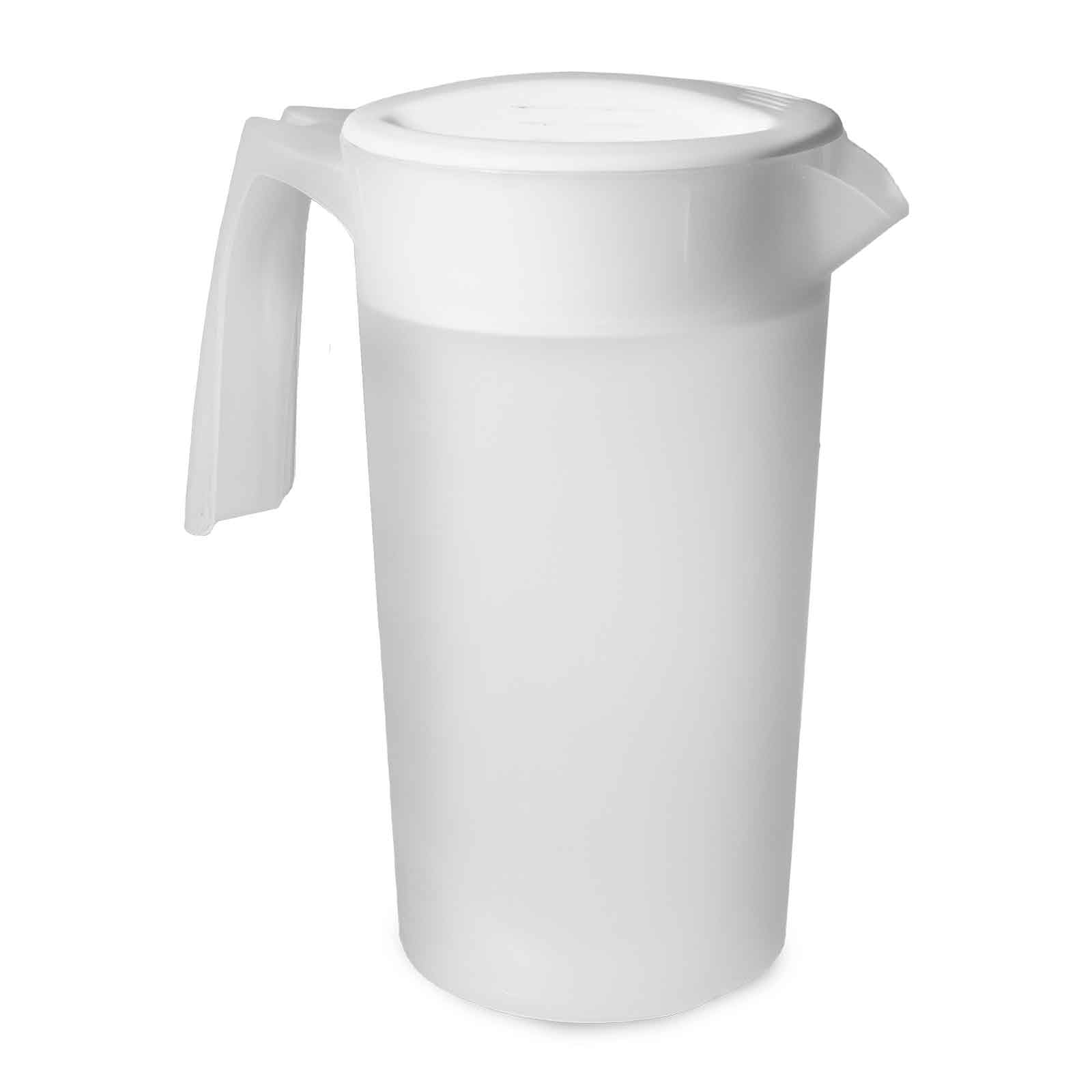 Geo 2 Liter White Pitcher with Push Cap