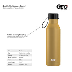 17 oz Rubber Coated Stainless Steel Sports Bottle w/ Carrying Handle