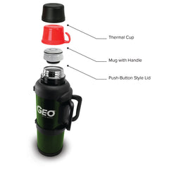 GEO 4 Liter Vacuum Insulated Thermos Flask w/ Portable Cup