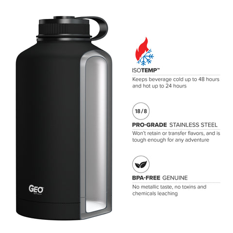 64oz Double Wall Vacuum Insulated Growler, Wide Mouth