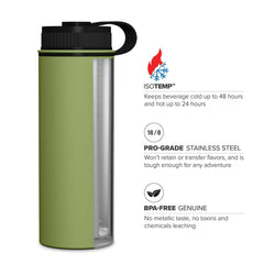 Geo Bottles 18oz Double Wall Vacuum Insulated Flask, Wide Mouth