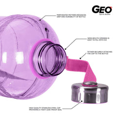 Geo Bottles Bottles 1/2 Gallon BPA FREE Plastic Water Bottle w/ 48mm Steel Cap
