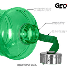 Geo Bottles Bottles 2.3 Litter BPA FREE Bottle w/ Stainless Steel Cap