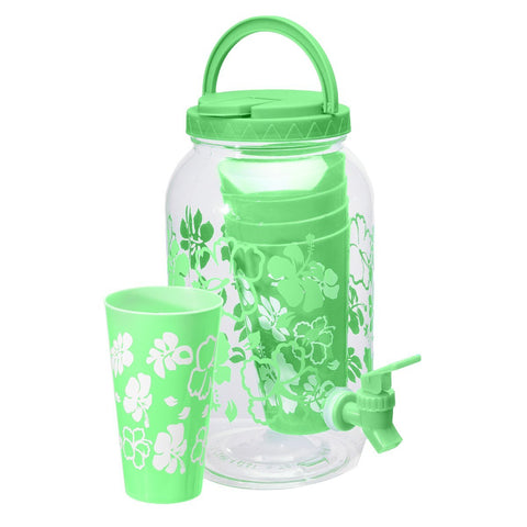 Geo Bottles Dispensers Green 1 Gallon Bottle Water Dispenser w/ Faucet BPA FREE and x4 Cups