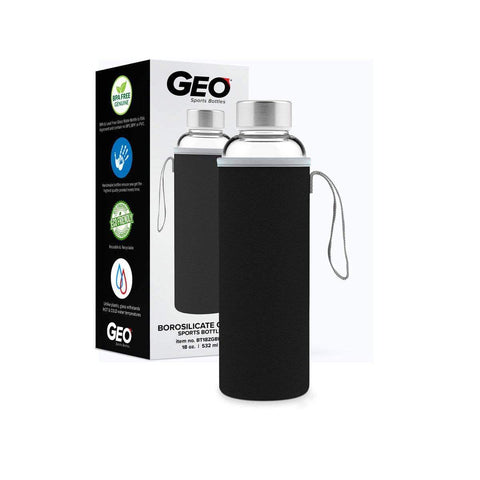 Geo Bottles Glass Bottles Black 18oz Hot and Cold Glass Bottle