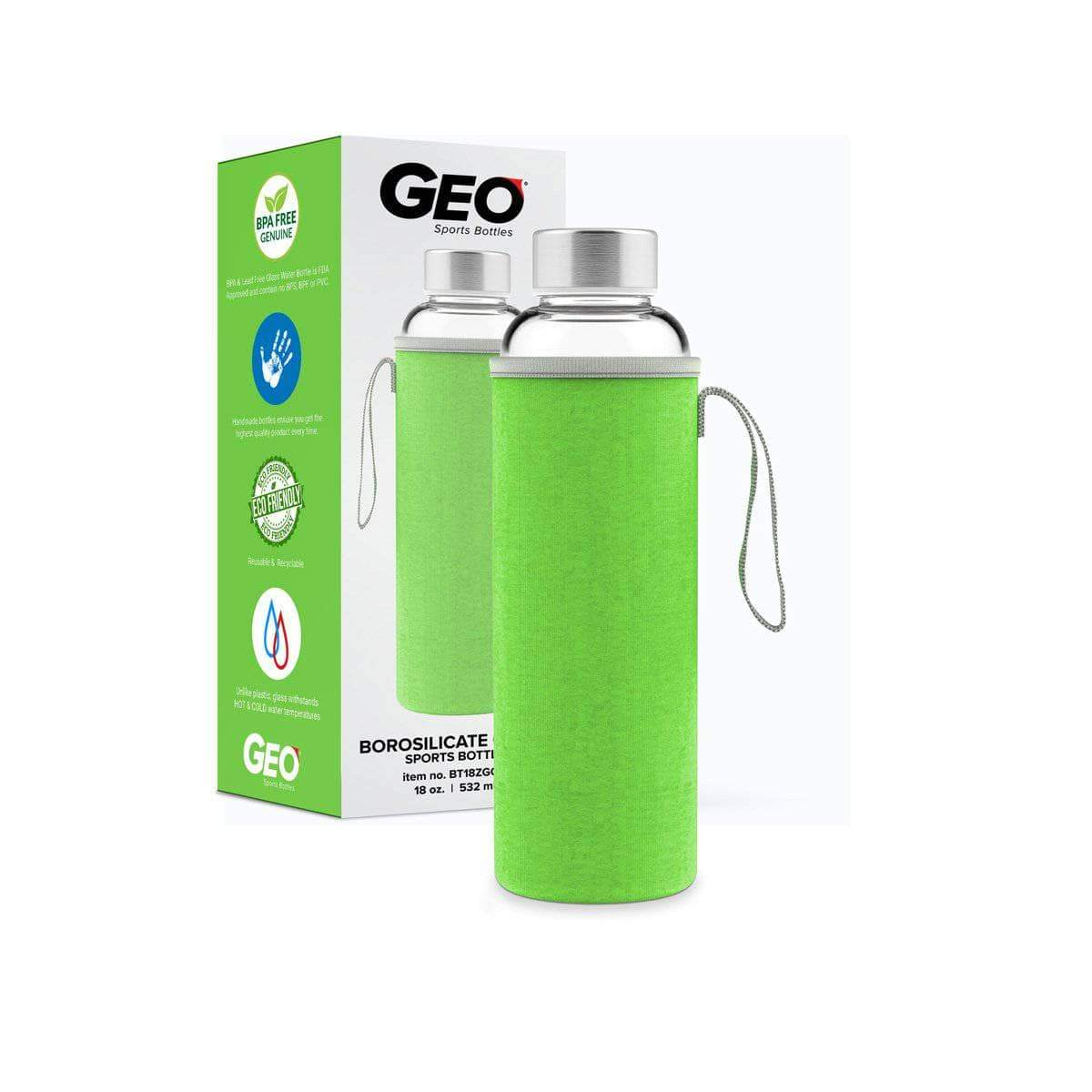 Geo Bottles Glass Bottles Green 18oz Hot and Cold Glass Bottle