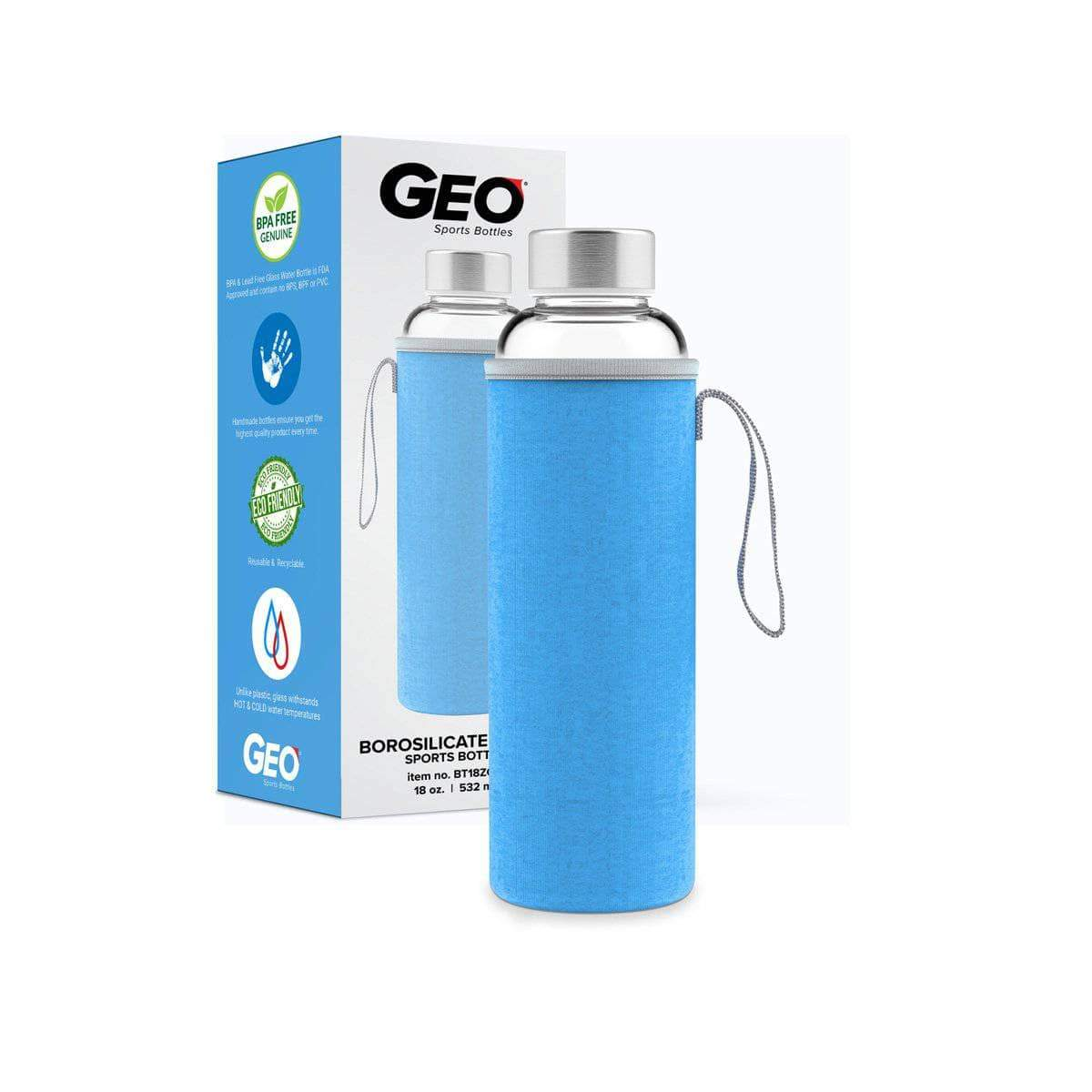 Geo Bottles Glass Bottles Light Blue 18oz Hot and Cold Glass Bottle