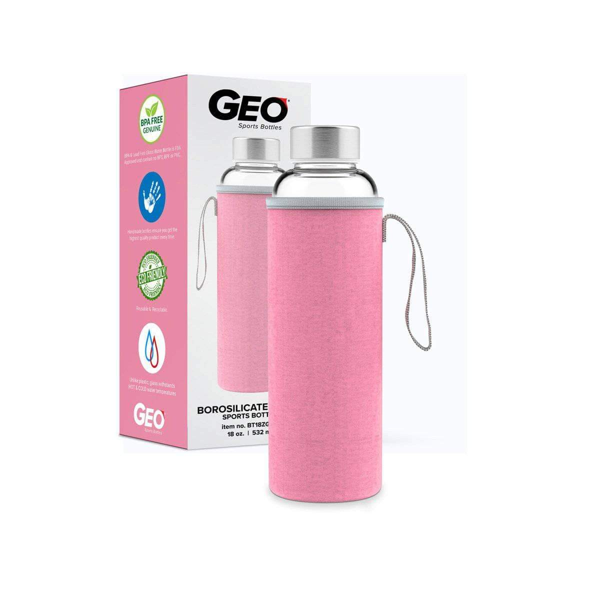 Geo Bottles Glass Bottles Pink 18oz Hot and Cold Glass Bottle
