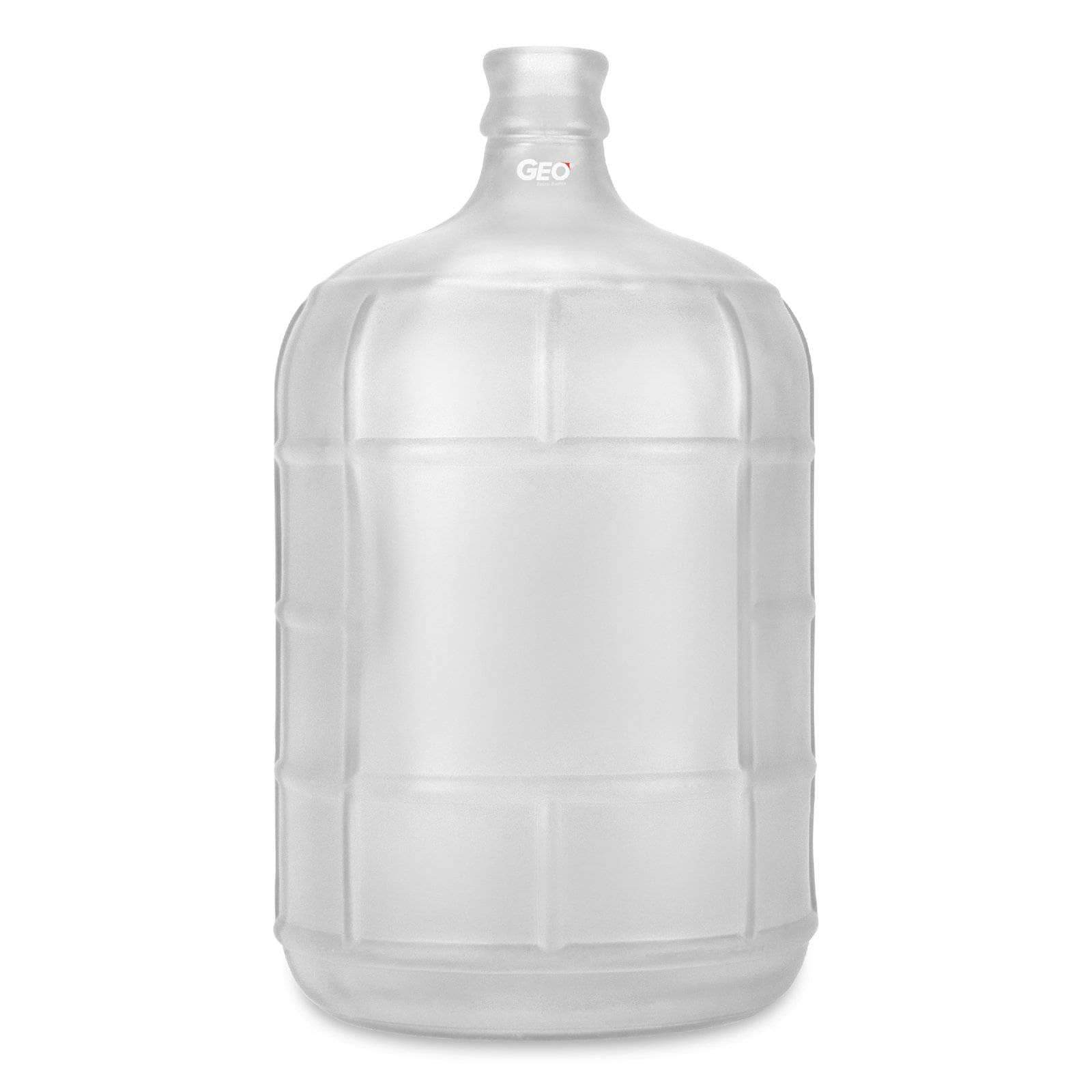 Geo Bottles Glass Bottles White 3 Gallon Round Frosted Glass Carboy w/55mm Crown Top
