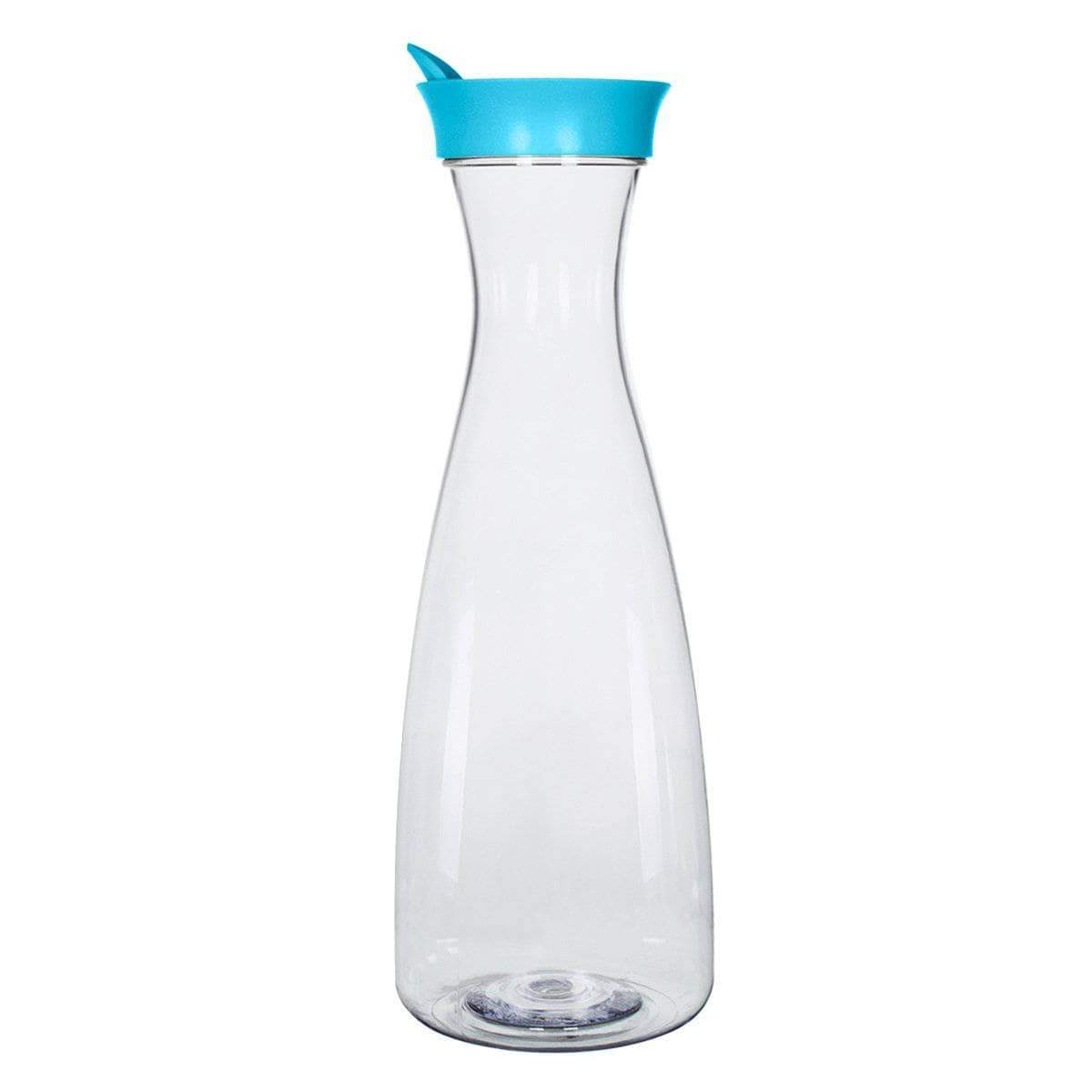 Geo Bottles Pitchers Light Blue 1.5 Liter (50 oz.) BPA FREE Plastic Carafe Pitcher Decanter Jug with Green Lid