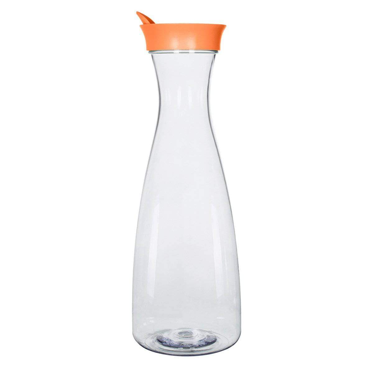 Geo Bottles Pitchers Orange 1.5 Liter (50 oz.) BPA FREE Plastic Carafe Pitcher Decanter Jug with Green Lid