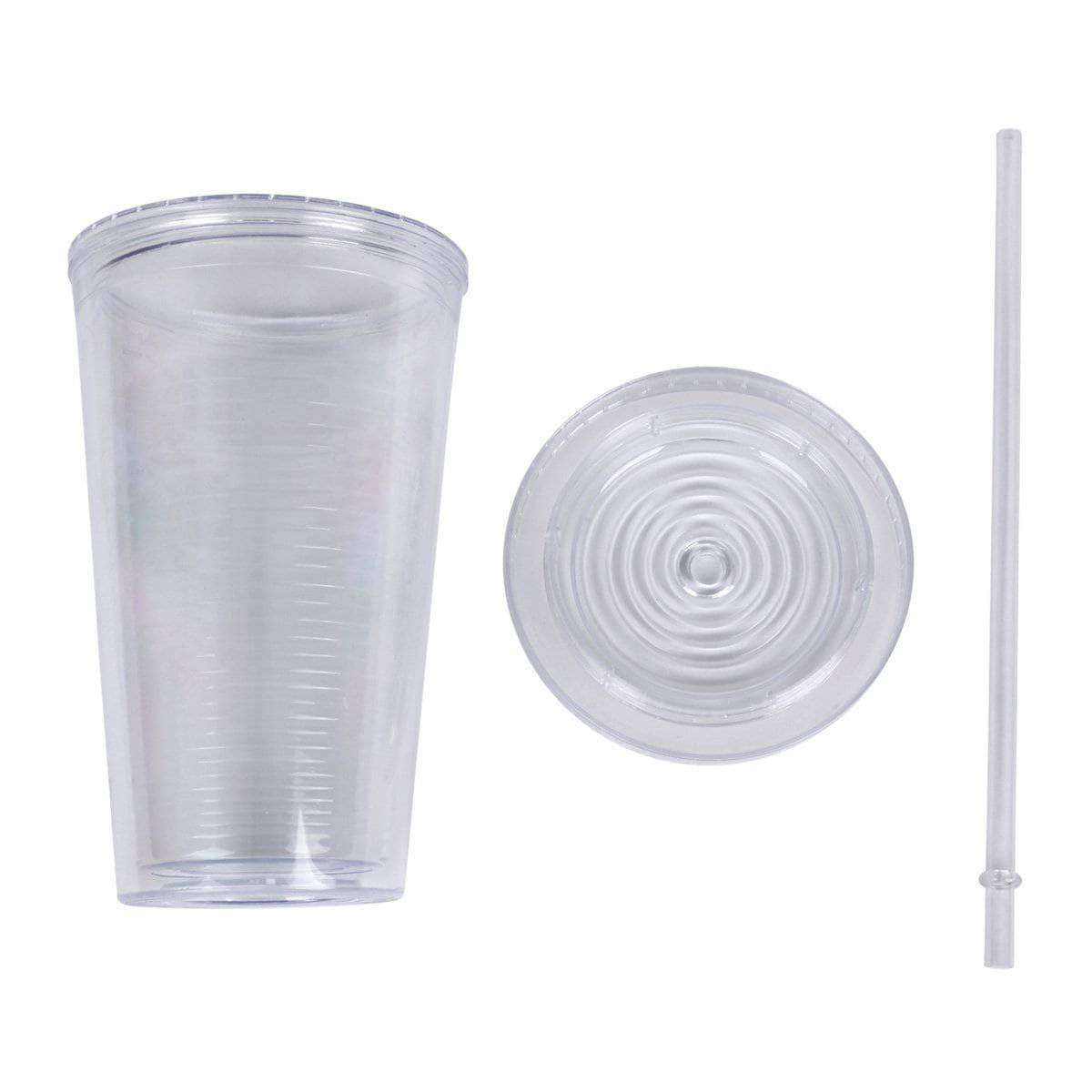 Geo Bottles Tumblers 16oz Double Wall Cup with Straw - BPA Free