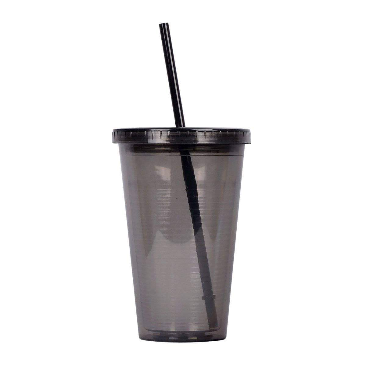 Geo Bottles Tumblers Black 16oz Double Wall Cup with Straw - BPA Free