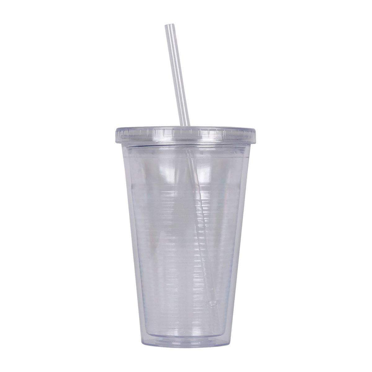 Geo Bottles Tumblers Clear 16oz Double Wall Cup with Straw - BPA Free
