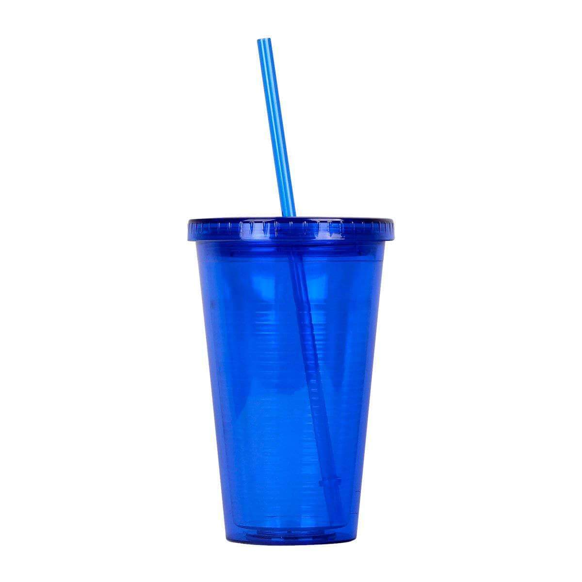 Geo Bottles Tumblers Dark Blue 16oz Double Wall Cup with Straw - BPA Free