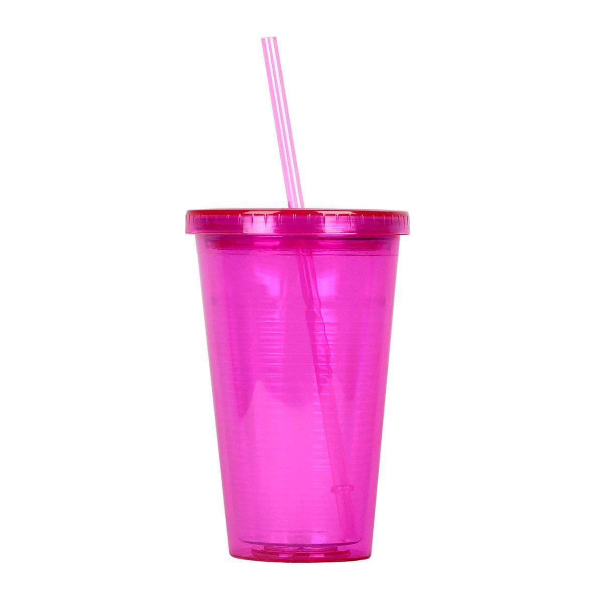 Geo Bottles Tumblers Pink 16oz Double Wall Cup with Straw - BPA Free