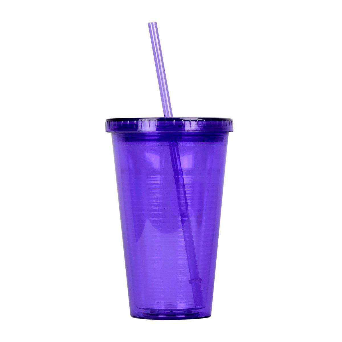 Geo Bottles Tumblers Purple 16oz Double Wall Cup with Straw - BPA Free