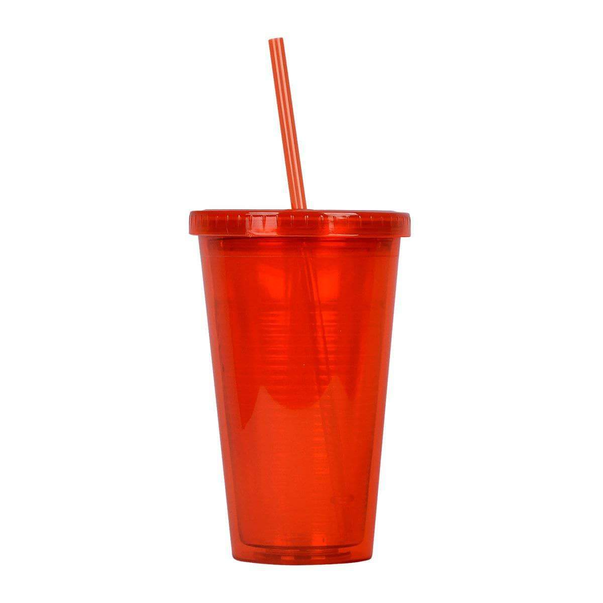 Geo Bottles Tumblers Red 16oz Double Wall Cup with Straw - BPA Free