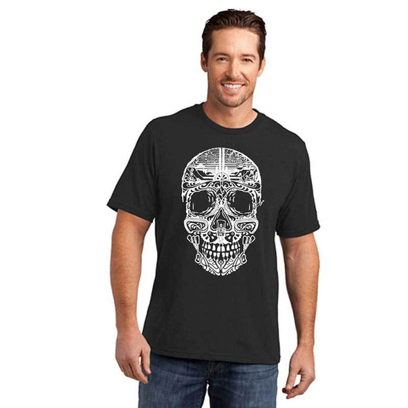 Men's black climbing inspired sugar skull t shirt