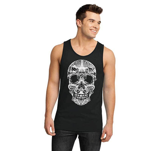 Men's black climbing inspired sugar skull tank top