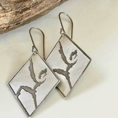 Oxidized silver rock climbing earrings