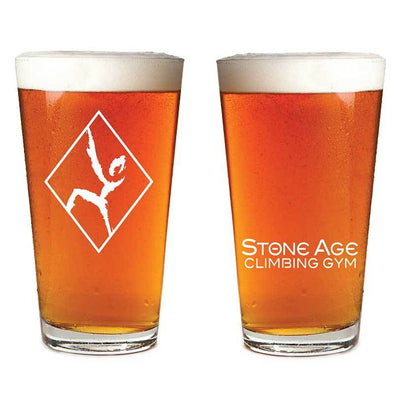 rock climber pint glass