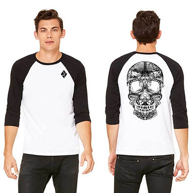 Grey and white men's climbing themed sugar skull baseball tee