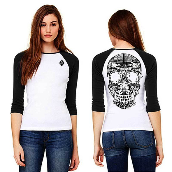 Women's black and white climbing sugar skull baseball tee