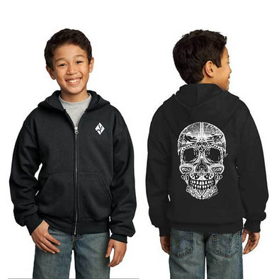 Youth black sugar skull hoodie with climbing theme
