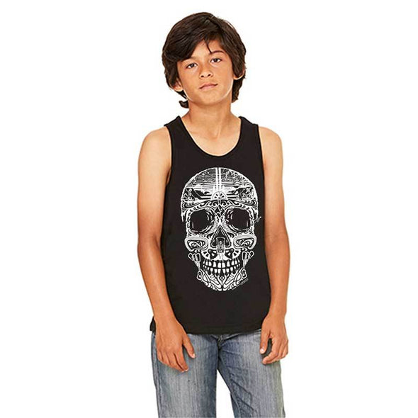 Youth black sugar skull tank top with climbing theme