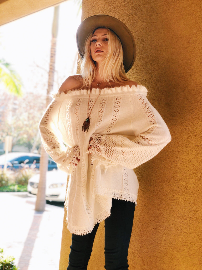 The Annabelle Crotchet Bell Sleeve Sweater