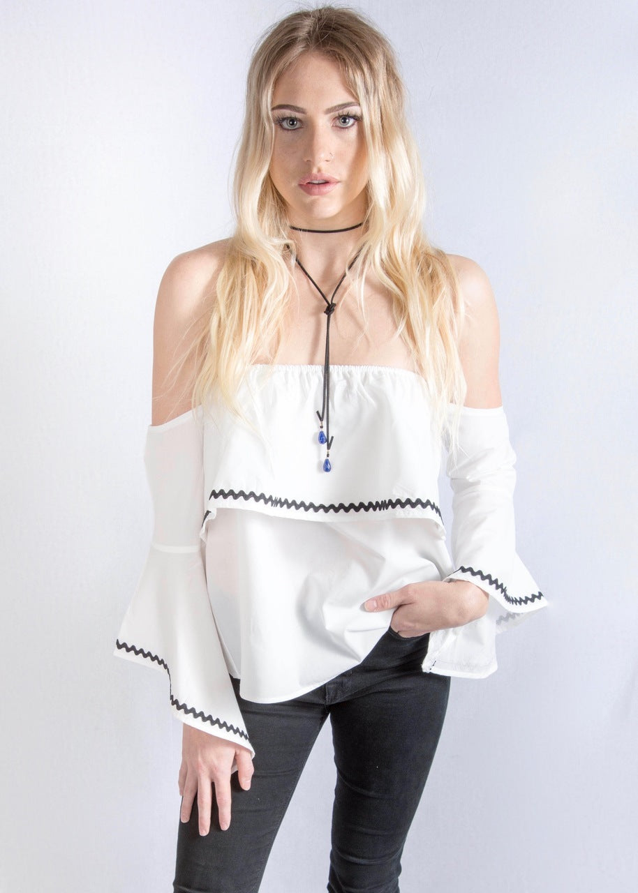 Essue Strapless Bell Sleeve Top