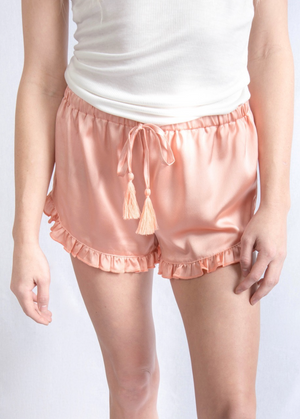 Promesa Satin Ruffled Shorts - Blush Pink