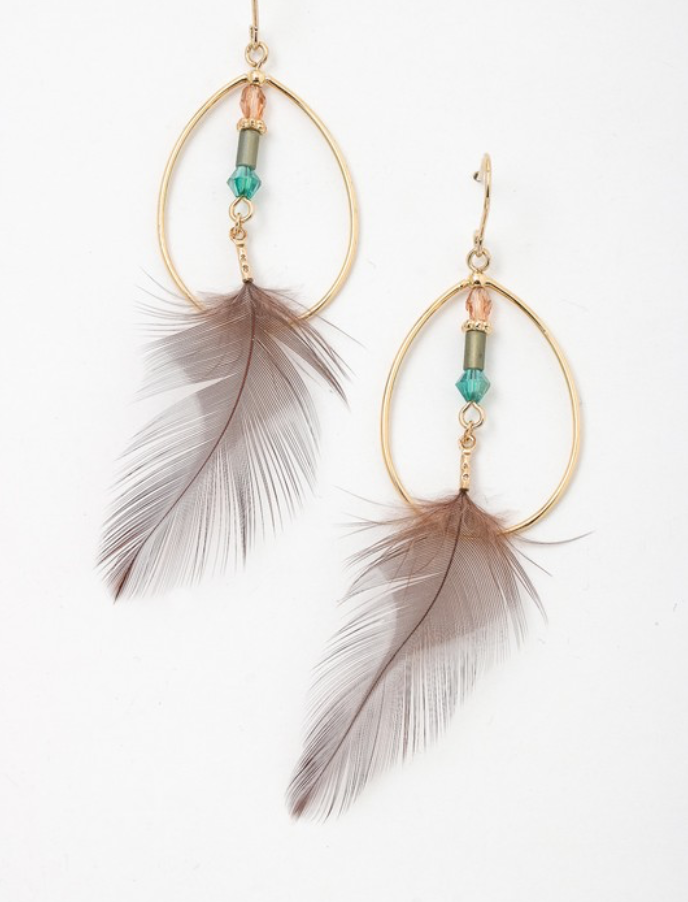 Artemis Bohemian Feather Hoop Earrings