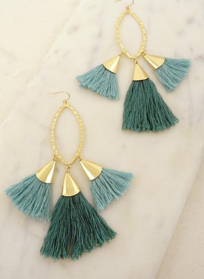 Caribbean Queen Tassel Earrings - Turquoise