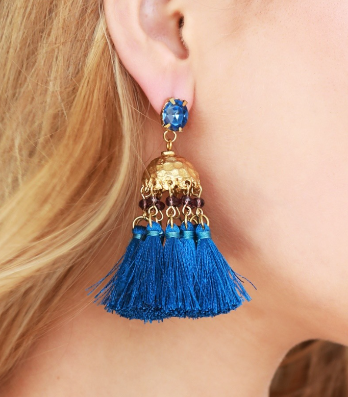 Blue Tassel Goddess Earrings