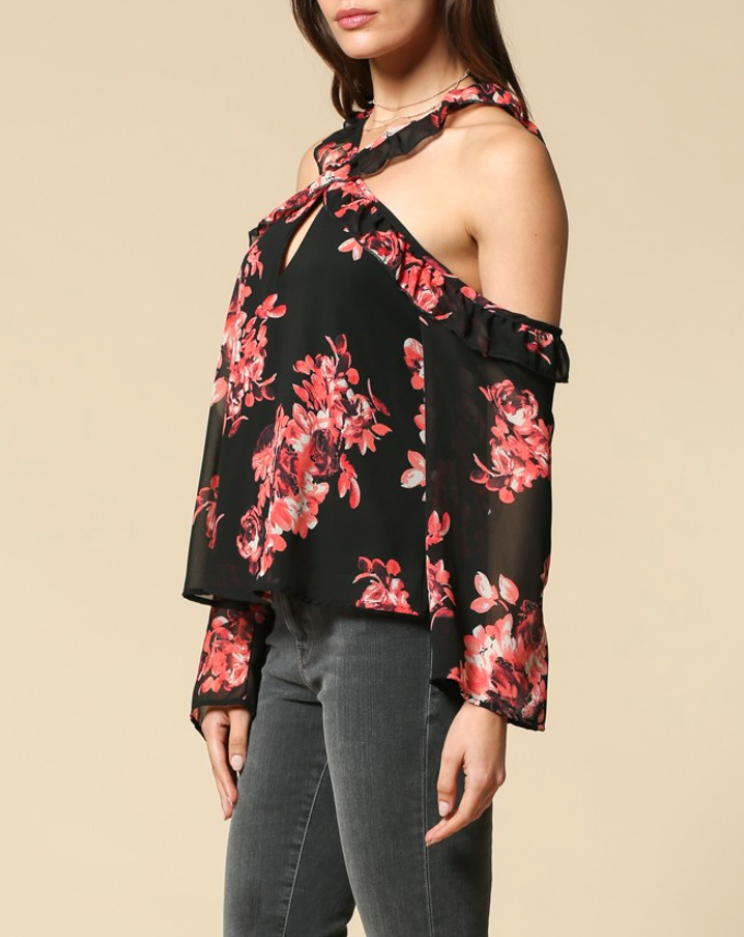 The Gabrielle Crossed Choker Blouse