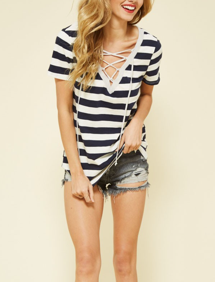 The Stevie Lace Up Stripe Tee
