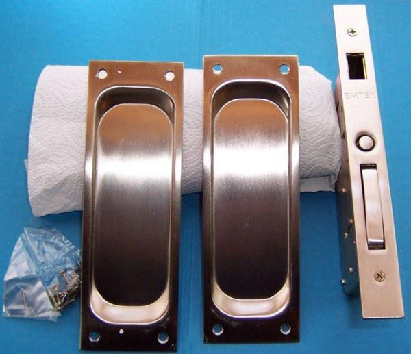 Dummy  Set:  Classic Emtek Heavy Duty Pocket Door Mortise Lock Set