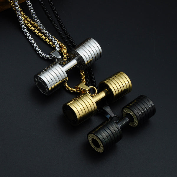 GO FIT Dumbbell  Necklaces For Men