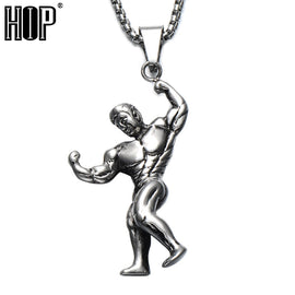 Muscular Weightlifter Pendant Necklaces For Men Jewelry