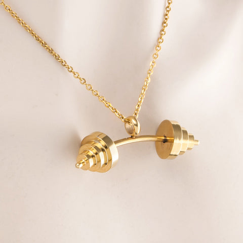 Risul unique Gold Color necklace  Gym Fitness Barbell
