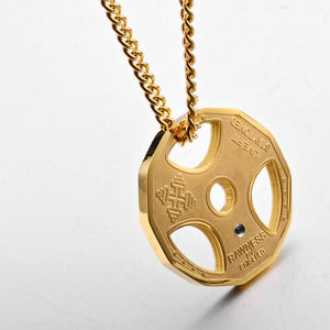 Train Hard or Go Home Premium Gym Plate Pendant Necklace