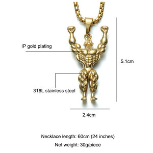 Muscle Man Weightlifters Pendant Necklaces For Men